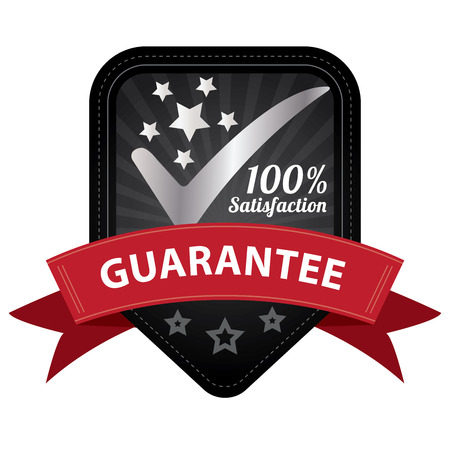 Quality Management Systems, Quality Assurance and Quality Control Concept Present By Black 100 Percent Satisfaction Guarantee Sticker, Label, Stamp, Badge or Icon Isolated on White Background photo