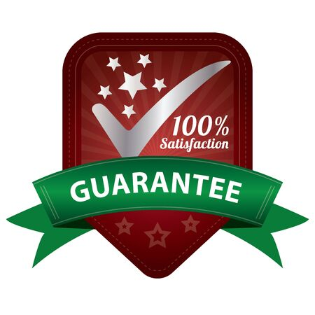 Quality Management Systems, Quality Assurance and Quality Control Concept Present By Red 100 Percent Satisfaction Guarantee Sticker, Label, Stamp, Badge or Icon Isolated on White Background photo