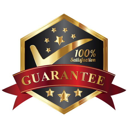 Quality Management Systems, Quality Assurance and Quality Control Concept Present By Black and and Golden Hexagon Metallic Style 100 Percent Satisfaction Guarantee Sticker, Label, Stamp, Badge or Icon Isolated on White Background photo
