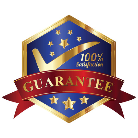Quality Management Systems, Quality Assurance and Quality Control Concept Present By Blue and and Golden Hexagon Metallic Style 100 Percent Satisfaction Guarantee Sticker, Label, Stamp, Badge or Icon Isolated on White Background photo