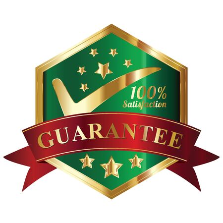 Quality Management Systems, Quality Assurance and Quality Control Concept Present By Green and and Golden Hexagon Metallic Style 100 Percent Satisfaction Guarantee Sticker, Label, Stamp, Badge or Icon Isolated on White Background photo
