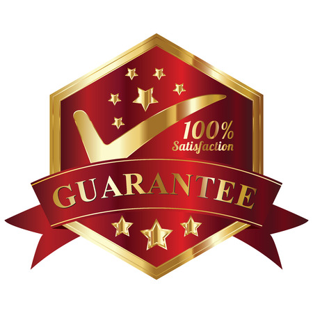 Quality Management Systems, Quality Assurance and Quality Control Concept Present By Red and and Golden Hexagon Metallic Style 100 Percent Satisfaction Guarantee Sticker, Label, Stamp, Badge or Icon Isolated on White Background photo