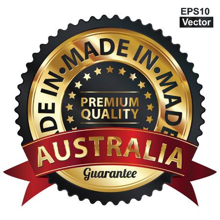 호주 프리미엄 품질 스티커, 라벨, 배지, 스탬프 또는 아이콘에서 만든 벡터, 검은 색과 황금 금속