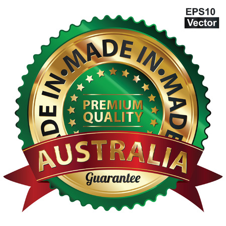 Vector, Green and Golden Metallic Made in Australia Premium Quality Sticker, Label, Badge, Stamp or Icon Vector
