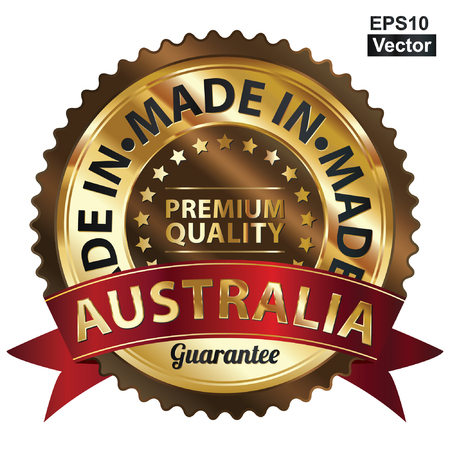 Vector, Brown and Golden Metallic Made in Australia Premium Quality Sticker, Label, Badge, Stamp or Icon Vector