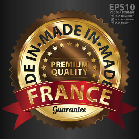 Vector, Brown and Golden Metallic Made in France Premium Quality Sticker, Label, Badge, Stamp or Icon Vector