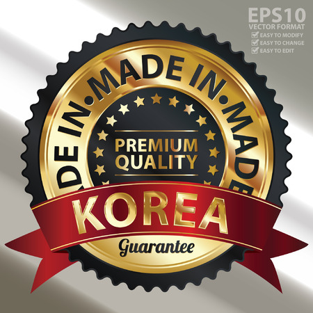 Vector, Black and Golden Metallic Made in Korea Premium Quality Sticker, Label, Badge, Stamp or Icon