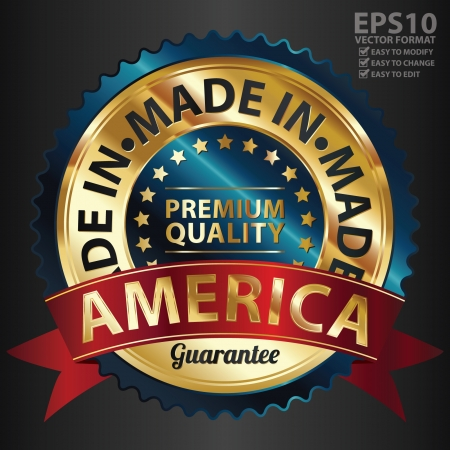 Vector, Blue and Golden Metallic Made in America Premium Quality Sticker, Label, Badge, Stamp or Icon Vector