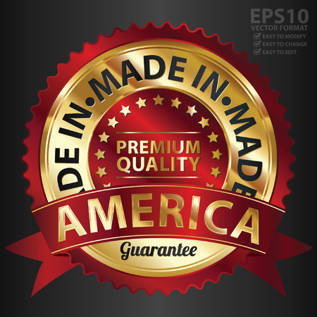 Vector, Red and Golden Metallic Made in America Premium Quality Sticker, Label, Badge, Stamp or Icon Vector