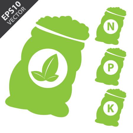 soils: Vector, fertilizzanti Icon Presente Per Green azoto, potassio, fosforo e Foglia Sack isolato su sfondo bianco Vettoriali