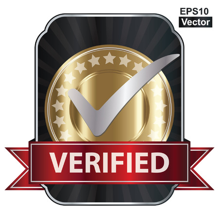 verified: Vector, Metallic Verified Medal, Label or Badge With Red Ribbon and Silver Check Mark Isolated on White Background