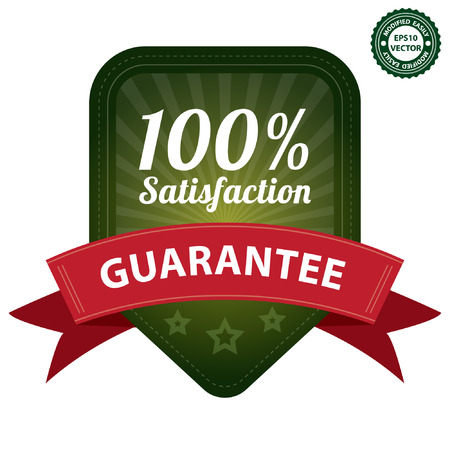 quality assurance: Vector, Green 100 Percent Satisfaction Guarantee Sticker, Label, Stamp, Badge or Icon  forQuality Management Systems, Quality Assurance and Quality Control Concept Isolated on White Background