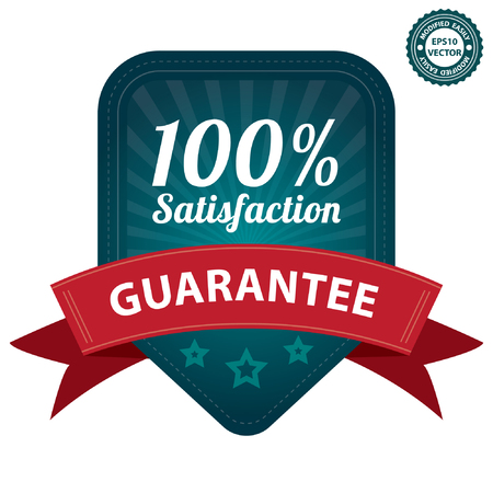 Vector, Blue 100 Percent Satisfaction Guarantee Sticker, Label, Stamp, Badge or Icon  forQuality Management Systems, Quality Assurance and Quality Control Concept Isolated on White Background Stock Vector - 24029172