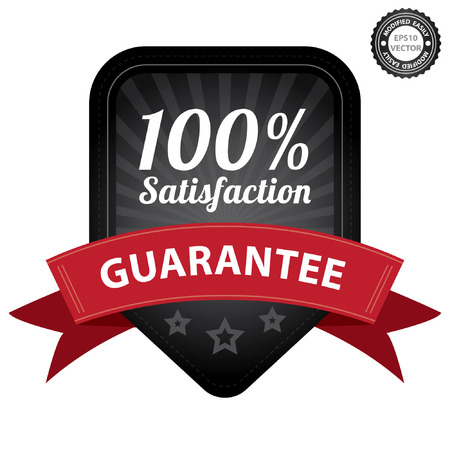 quality assurance: Vector, Black 100 Percent Satisfaction Guarantee Sticker, Label, Stamp, Badge or Icon  forQuality Management Systems, Quality Assurance and Quality Control Concept Isolated on White Background Illustration
