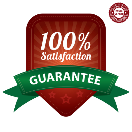 quality assurance: Vector, Red 100 Percent Satisfaction Guarantee Sticker, Label, Stamp, Badge or Icon  forQuality Management Systems, Quality Assurance and Quality Control Concept Isolated on White Background