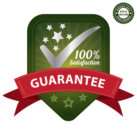 Vector, Quality Management Systems, Quality Assurance and Quality Control Concept Present By Green 100 Percent Satisfaction Guarantee Sticker, Label, Stamp, Badge or Icon Isolated on White Background Vector