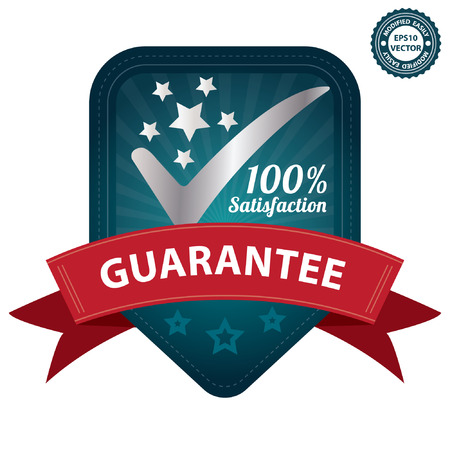 Vector, Quality Management Systems, Quality Assurance and Quality Control Concept Present By Blue 100 Percent Satisfaction Guarantee Sticker, Label, Stamp, Badge or Icon Isolated on White Background Vector