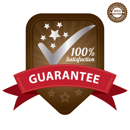 Vector, Quality Management Systems, Quality Assurance and Quality Control Concept Present By Brown 100 Percent Satisfaction Guarantee Sticker, Label, Stamp, Badge or Icon Isolated on White Background Vector