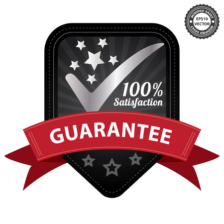 Vector, Quality Management Systems, Quality Assurance and Quality Control Concept Present By Black 100 Percent Satisfaction Guarantee Sticker, Label, Stamp, Badge or Icon Isolated on White Background Vector
