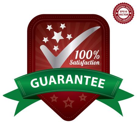management qualit�: Vector, gestion de la qualit� des syst�mes, l'assurance qualit� et de contr�le de qualit� Concept Pr�sent Par Red satisfaction de 100 pour cent autocollant de garantie, �tiquette, timbre, d'un insigne ou l'ic�ne isol� sur fond blanc