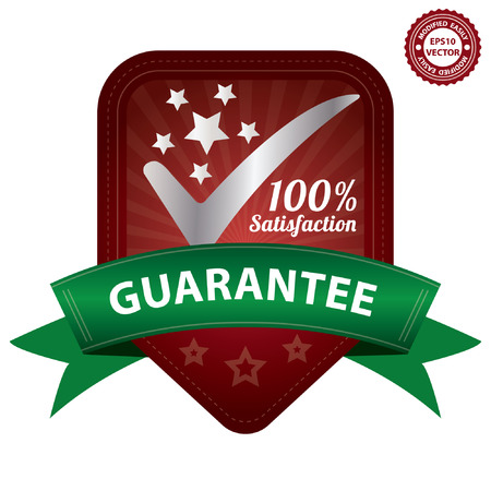 satisfy: Vector, Quality Management Systems, Quality Assurance and Quality Control Concept Present By Red 100 Percent Satisfaction Guarantee Sticker, Label, Stamp, Badge or Icon Isolated on White Background