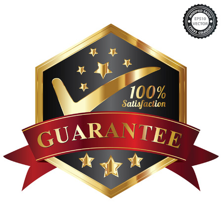 Vector, Quality Management Systems, Quality Assurance and Quality Control Concept Present By Black and and Golden Hexagon Metallic Style 100 Percent Satisfaction Guarantee Sticker, Label, Stamp, Badge or Icon Isolated on White Background Vector