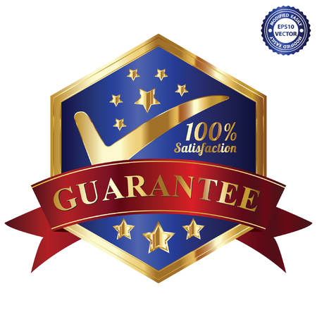 Vector, Quality Management Systems, Quality Assurance and Quality Control Concept Present By Blue and and Golden Hexagon Metallic Style 100 Percent Satisfaction Guarantee Sticker, Label, Stamp, Badge or Icon Isolated on White Background Vector