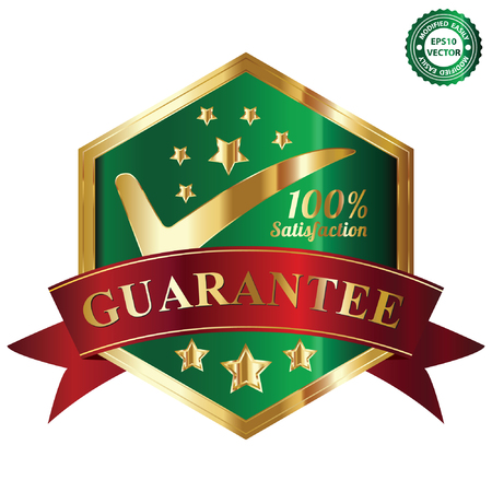 Vector, Quality Management Systems, Quality Assurance and Quality Control Concept Present By Green and and Golden Hexagon Metallic Style 100 Percent Satisfaction Guarantee Sticker, Label, Stamp, Badge or Icon Isolated on White Background Stock Vector - 24017034