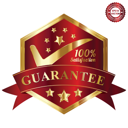 Vector, Quality Management Systems, Quality Assurance and Quality Control Concept Present By Red and and Golden Hexagon Metallic Style 100 Percent Satisfaction Guarantee Sticker, Label, Stamp, Badge or Icon Isolated on White Background Illustration