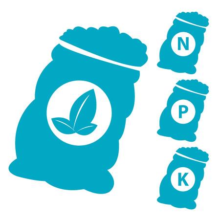 white phosphorus: Fertilizer Icon Present By Blue Nitrogen, Potassium, Phosphorus and Leaf Sack Isolated on White Background