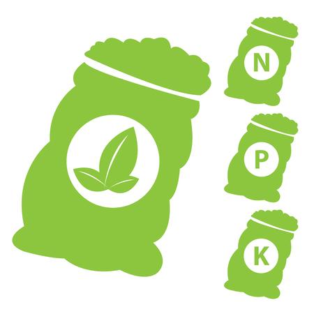 potassium: Fertilizer Icon Present By Green Nitrogen, Potassium, Phosphorus and Leaf Sack Isolated on White Background