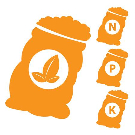 white phosphorus: Fertilizer Icon Present By Orange Nitrogen, Potassium, Phosphorus and Leaf Sack Isolated on White Background  Stock Photo