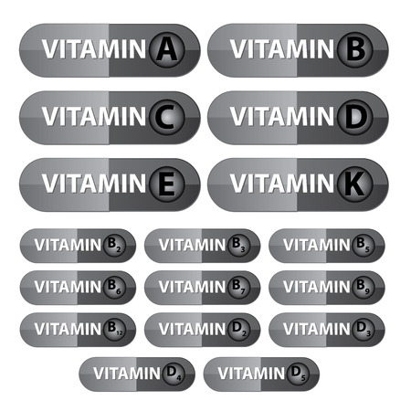 scientific farming: Group Of Vitamin Capsule With Vitamin A, B, B Complex C, D, D Complex, E, K in Gray Capsule Isolated on White Background
