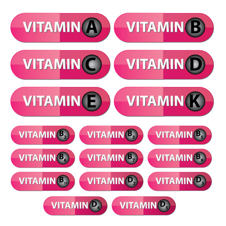 group b: Group Of Vitamin Capsule With Vitamin A, B, B Complex C, D, D Complex, E, K in Pink Capsule Isolated on White Background  Stock Photo