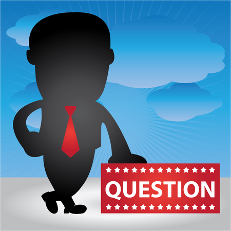 Business Management or Business Solution Concept Present By Businessman Hand On Question Banner in Blue Sky Background  photo