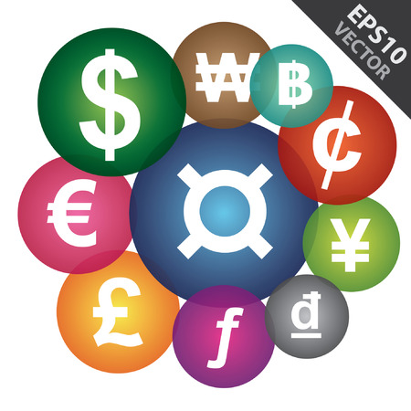 currency exchange: Vector, Business and Currency Exchange Market Concept Present By Group of Colorful Money Currency Icon Isolated on White Background