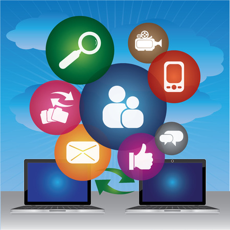 vdo: Social Network, Social Media or Online Business Concept Present By Two Computer Laptop and Group of Colorful Social Media Icon Isolated on White Background Stock Photo