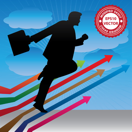 Vector, Business Growth, Job Opportunity or Business Solution Concept Present By The Businessman Running on Colorful Arrow in Blue Sky Background