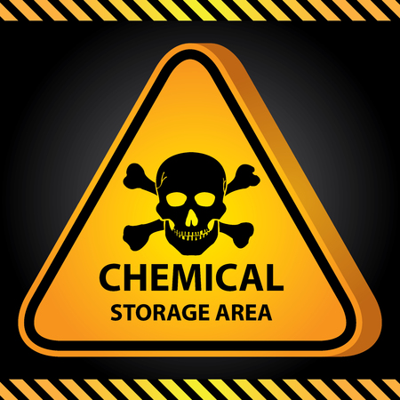 hazardous area sign: 3D Yellow Glossy Style Triangle Caution Plate For Safety Present By Chemical Storage Area With Skull Sign in Dark Background Stock Photo