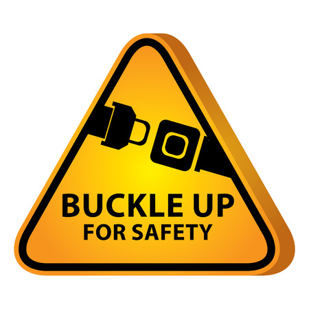 3D Yellow Glossy Style Triangle Caution Plate For Safety Present By Buckle Up For Safety With Seat Belt or Safety Belt Sign Isolated on White Background