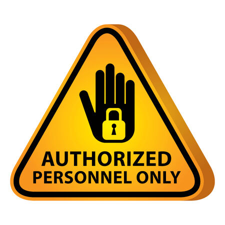 no label: 3D Yellow Glossy Style Triangle Caution Plate For Safety Present By Authorized Personnel Only With Hand and Key Lock Sign Isolated on White Background