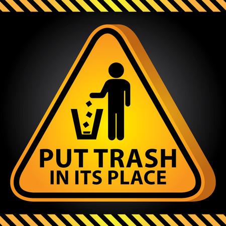 tirar basura: 3D amarillo brillante Estilo Tri�ngulo Precauci�n Plate Por Presente Seguridad Por Trash poner en su lugar Con Tirar basura Entra Fondo Oscuro