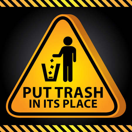 littering: 3D Yellow Glossy Style Triangle Caution Plate For Safety Present By Put Trash in Its Place With Littering Sign in Dark Background