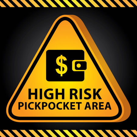 pickpocket: 3D Yellow Glossy Style Triangle Caution Plate For Safety Present By High Risk Pickpocket Area With Purse or Wallet Sign in Dark Background Stock Photo