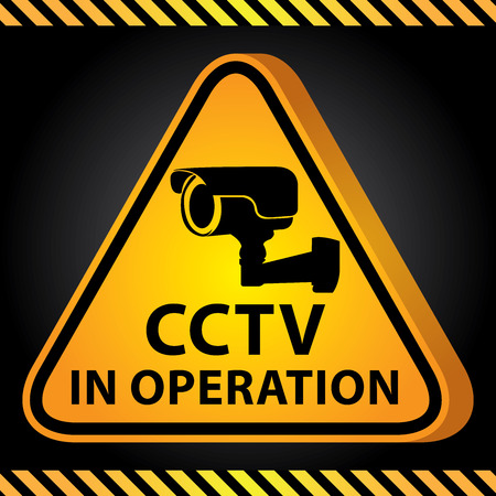 operation for: 3D Yellow Glossy Style Triangle Caution Plate For Safety Present By CCTV in Operation With CCTV or Surveillance Camera Sign in Dark Background Stock Photo
