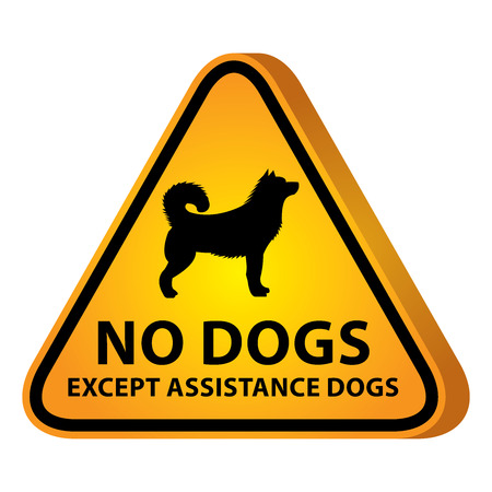 3D Yellow Glossy Style Triangle Caution Plate For Safety Present By No Dogs Except Assistance Dogs With Dog Sign Isolated on White Background photo