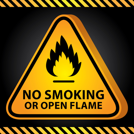 3D Yellow Glossy Style Triangle Caution Plate For Safety Present By No Smoking or Open Flame With Flame Sign in Dark Background photo