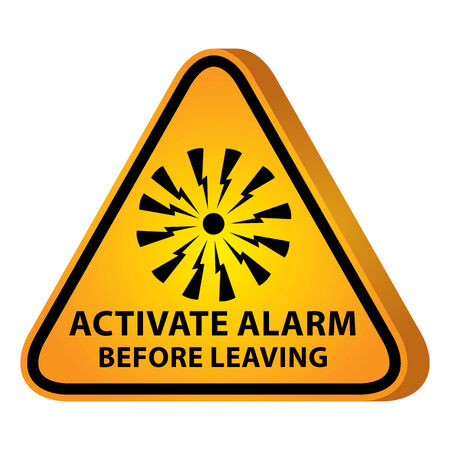 activate: 3D Yellow Glossy Style Triangle Caution Plate For Safety Present By Activate Alarm Before Leaving With Alarm Sign Isolated on White Background Stock Photo