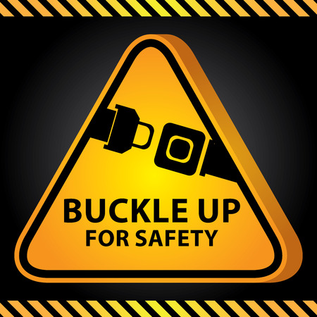 3D Yellow Glossy Style Triangle Caution Plate For Safety Present By Buckle Up For Safety With Seat Belt or Safety Belt Sign in Dark Background photo