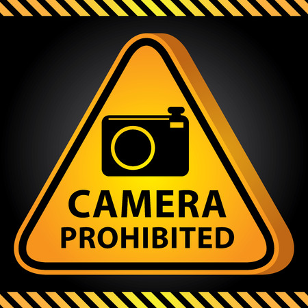 vdo: 3D Yellow Glossy Style Triangle Caution Plate For Safety Present By Camera Prohibited With Camera Sign in Dark Background Stock Photo